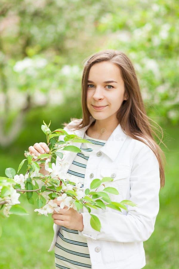 Όμορφο φύσηγμα κοριτσιών πορτρέτο ενός κοριτσιού σε ένα ανθίζοντας δέντρο μηλιάς στοκ εικόνες