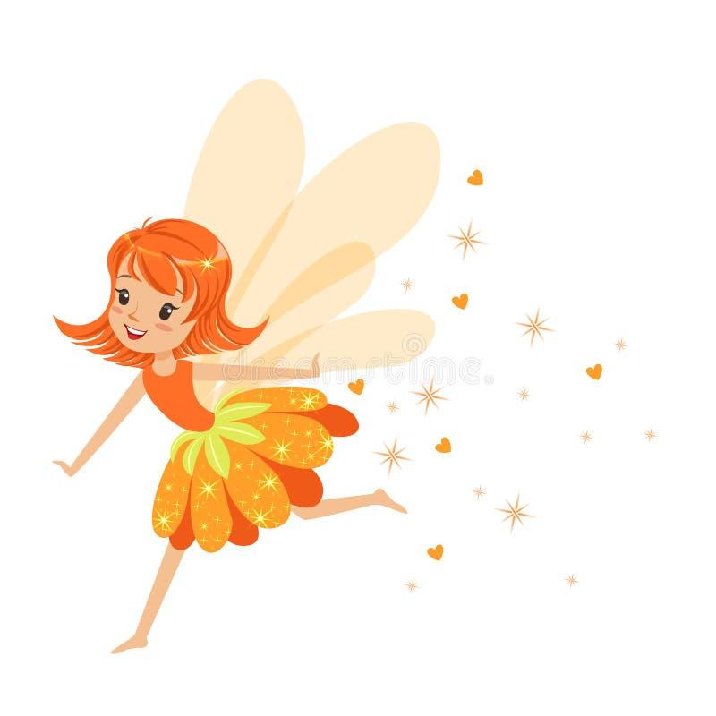 Όμορφο χαμογελώντας πορτοκαλί κορίτσι νεράιδων που πετά τη ζωηρόχρωμη διανυσματική απεικόνιση χαρακτήρα κινουμένων σχεδίων απεικόνιση αποθεμάτων
