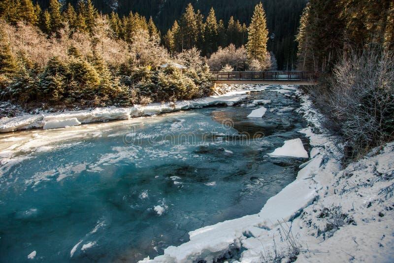 Όμορφο χειμερινό τοπίο κοντά στον καταρράκτη Krimml, Αυστρία στοκ φωτογραφία