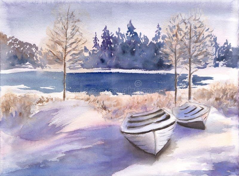 Όμορφο χειμερινό τοπίο με τη λίμνη, το δάσος και τη βάρκα Συρμένη χέρι απεικόνιση watercolor της παγωμένης επαρχίας απεικόνιση αποθεμάτων