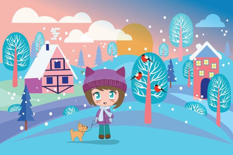 Όμορφο χειμερινό τοπίο με το όμορφο κορίτσι και το χαριτωμένο σκυλί ελεύθερη απεικόνιση δικαιώματος
