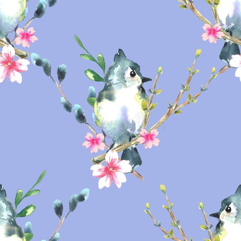 Όμορφο χρωματισμένο χέρι υπόβαθρο άνοιξη με τα χαριτωμένα πουλιά και το ρόδινο άνθος sakura m ελεύθερη απεικόνιση δικαιώματος