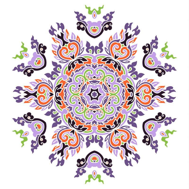 Όμορφο χρωματισμένο Mandala διανυσματική απεικόνιση