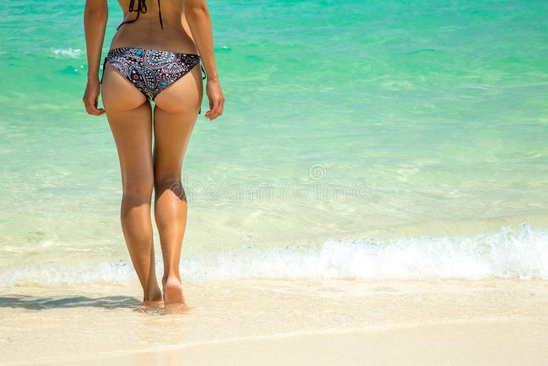 όμορφο bikini ανασκόπησης πέρα από τις νεολαίες λευκών γυναικών στοκ εικόνες