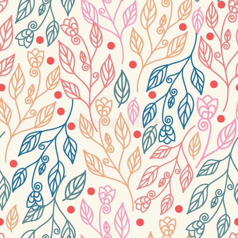 Όμορφο floral άνευ ραφής σχέδιο με τα φύλλα και τα λουλούδια Διανυσματικό ζωηρόχρωμο υπόβαθρο απεικόνισης διανυσματική απεικόνιση