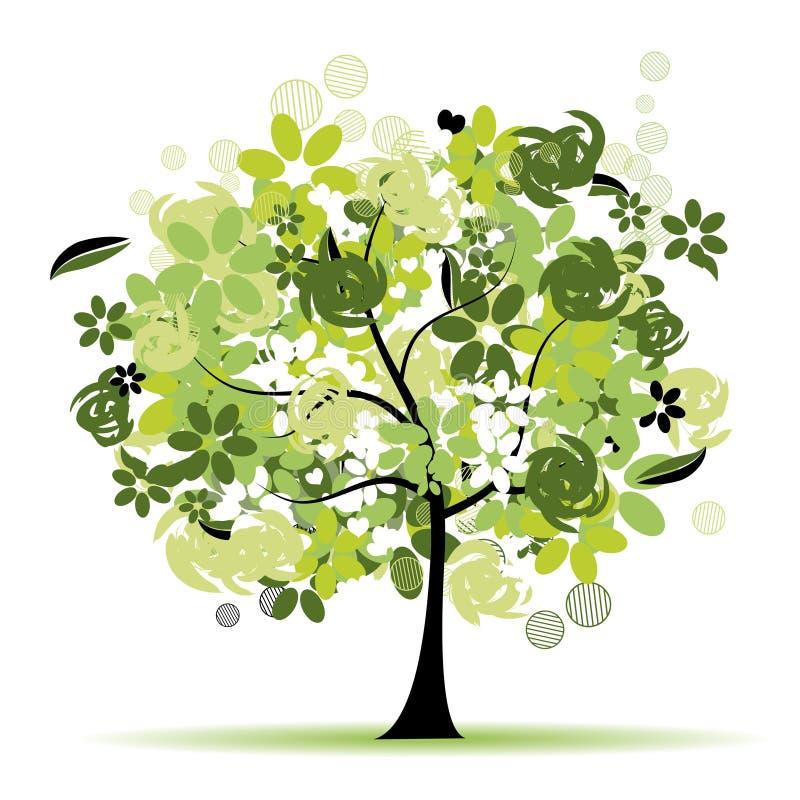 όμορφο floral δέντρο ελεύθερη απεικόνιση δικαιώματος