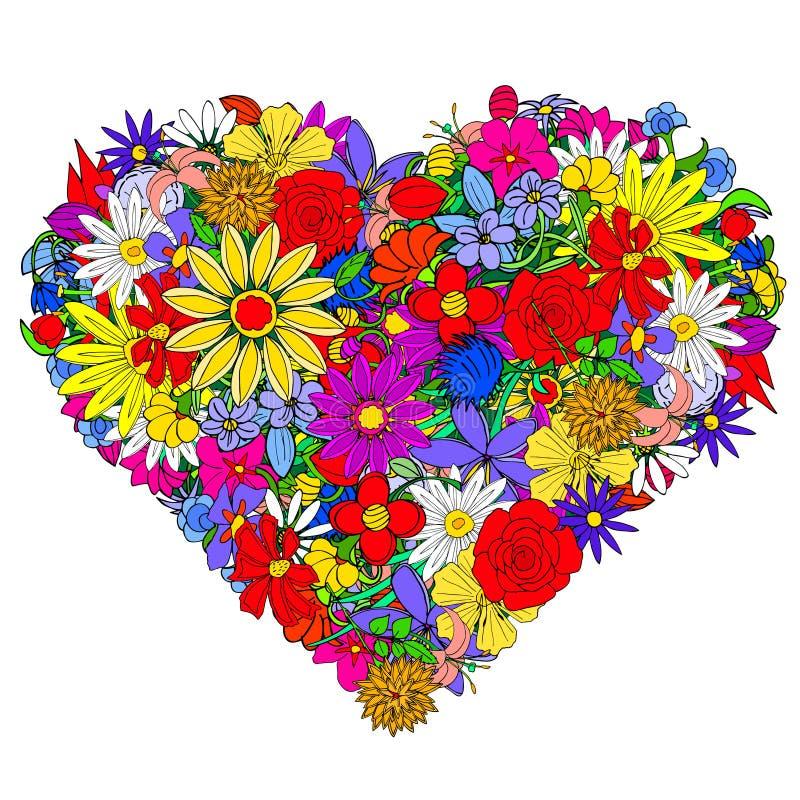 όμορφο floral διάνυσμα απεικόνισης καρδιών διανυσματική απεικόνιση