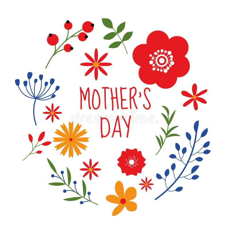 Όμορφο floral σχέδιο πλαισίων την ημέρα μητέρων που απομονώνεται στο άσπρο υπόβαθρο ελεύθερη απεικόνιση δικαιώματος