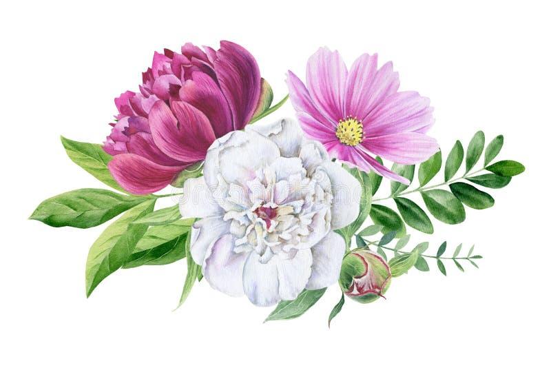 Όμορφο floral clipart watercolor που απομονώνεται ελεύθερη απεικόνιση δικαιώματος