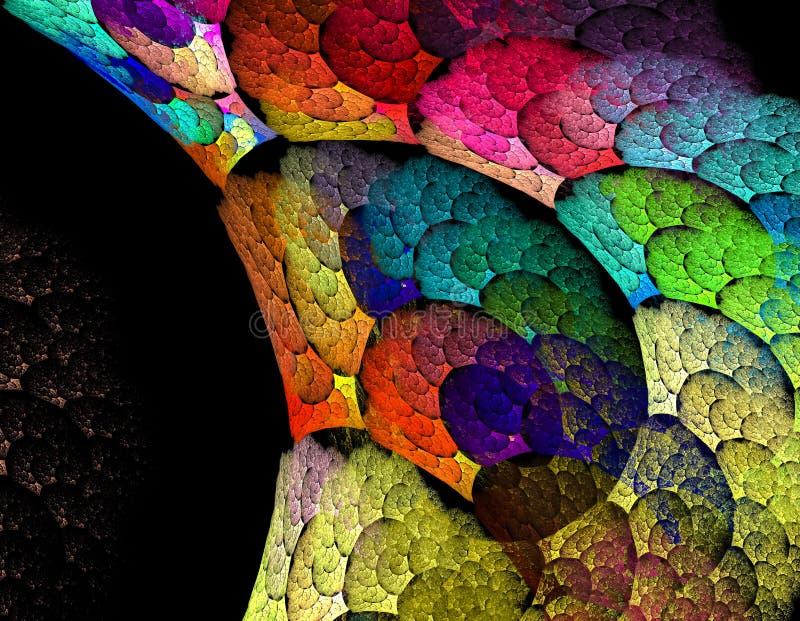 Όμορφο fractal, αφηρημένο ουράνιο τόξο χρωμάτισε τους στροβίλους ενάντια σε ένα bla στοκ φωτογραφία με δικαίωμα ελεύθερης χρήσης