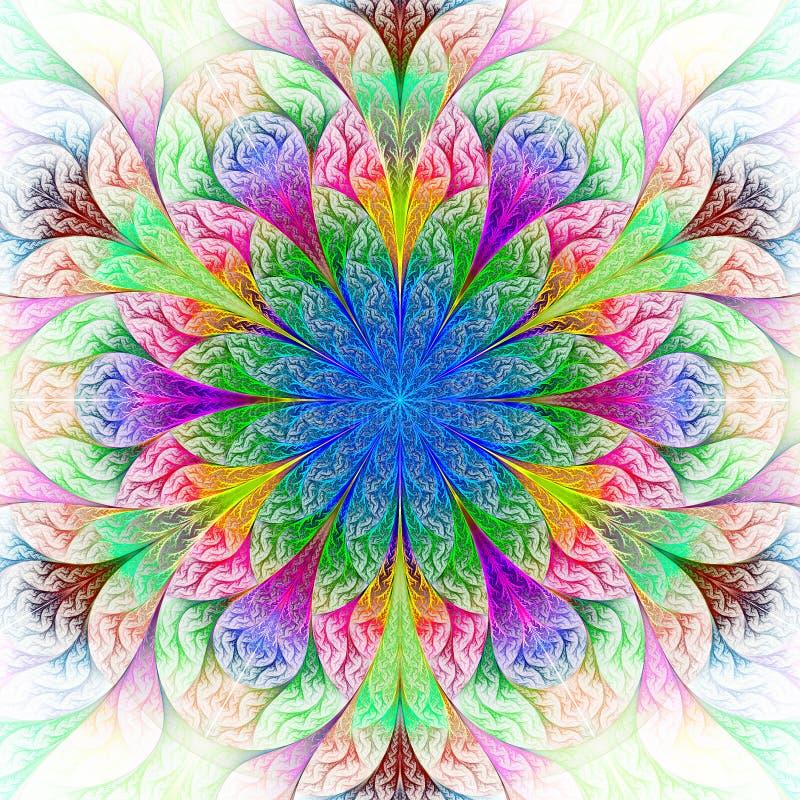 Όμορφο fractal λουλούδι στο μπλε, πράσινος και κόκκινος. διανυσματική απεικόνιση