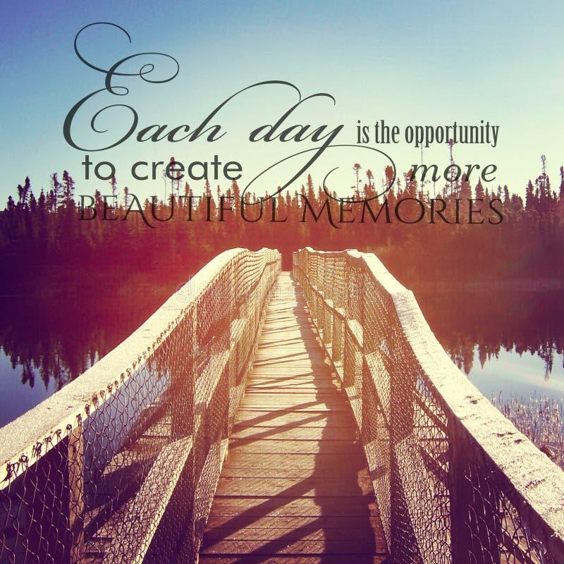 Όμορφο instagram της γέφυρας πέρα από το νερό με το εμπνευσμένο quot στοκ φωτογραφία με δικαίωμα ελεύθερης χρήσης