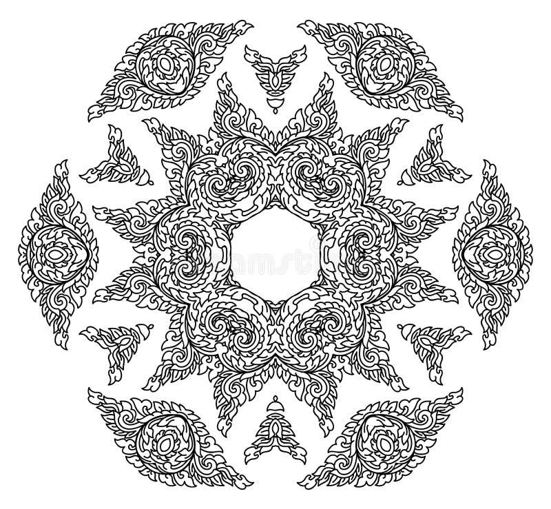 Όμορφο Mandala μαύρο λευκό ελεύθερη απεικόνιση δικαιώματος