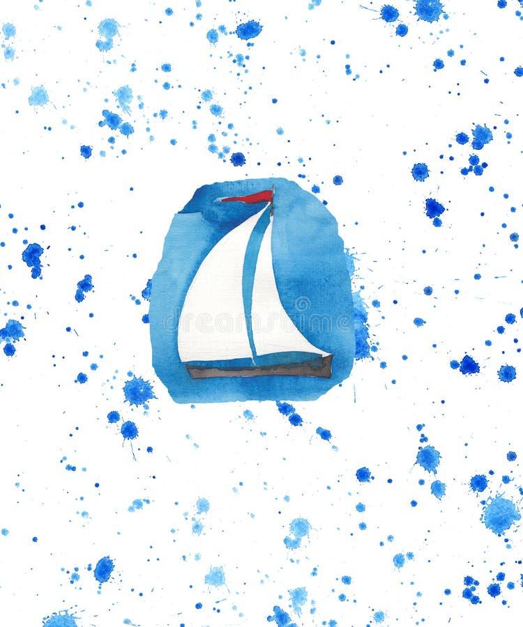 Όμορφο sailboat σκίτσο χεριών watercolor ψεκασμού διανυσματική απεικόνιση