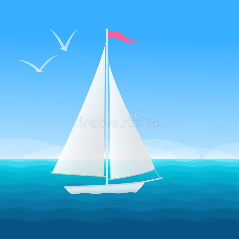 Όμορφο seascape με τη βάρκα πανιών απεικόνιση αποθεμάτων
