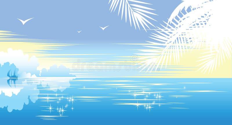 όμορφο seascape τροπικό διανυσματική απεικόνιση