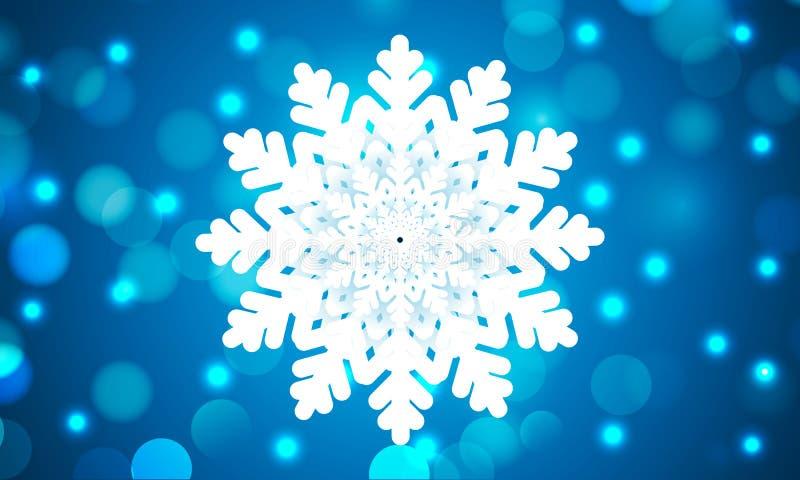 Όμορφο snowflake στο μπλε υπόβαθρο bokeh ελεύθερη απεικόνιση δικαιώματος