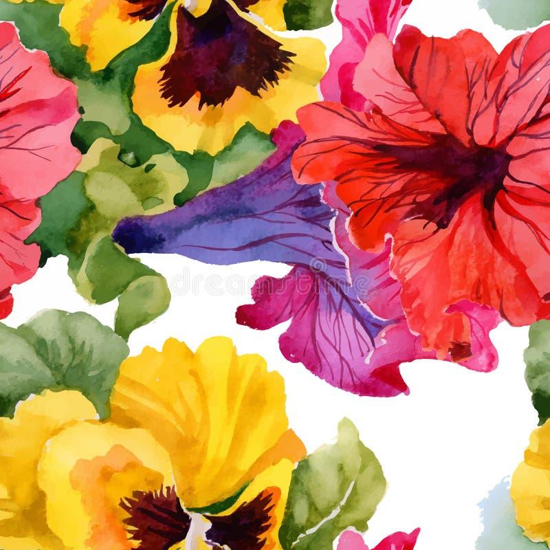 Όμορφο Watercolor άνευ ραφής σχέδιο λουλουδιών θερινών κήπων ανθίζοντας διανυσματική απεικόνιση