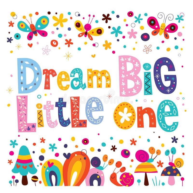Όνειρο μεγάλο μικρό - τέχνη βρεφικών σταθμών παιδιών με τους χαριτωμένους χαρακτήρες διανυσματική απεικόνιση