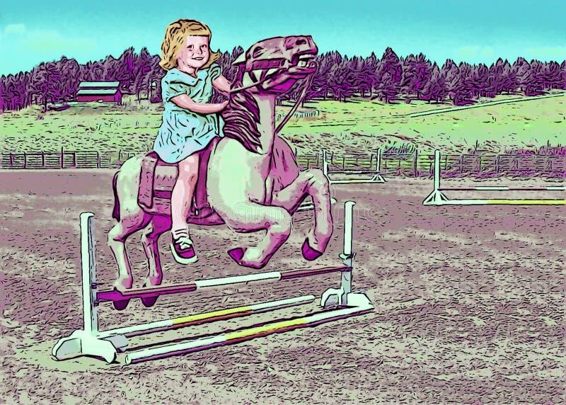 Όνειρο μικρών κοριτσιών της οδήγησης ενός πόνι διανυσματική απεικόνιση