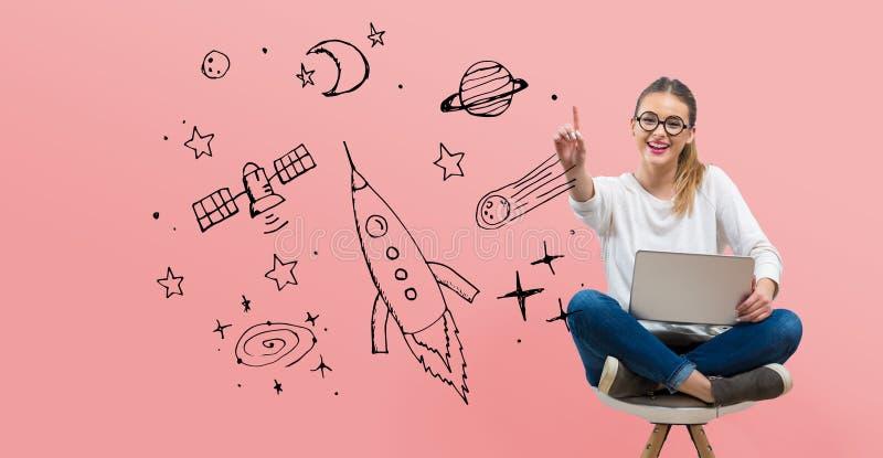 Όνειρο του διαστήματος και του πυραύλου με τη νέα γυναίκα διανυσματική απεικόνιση