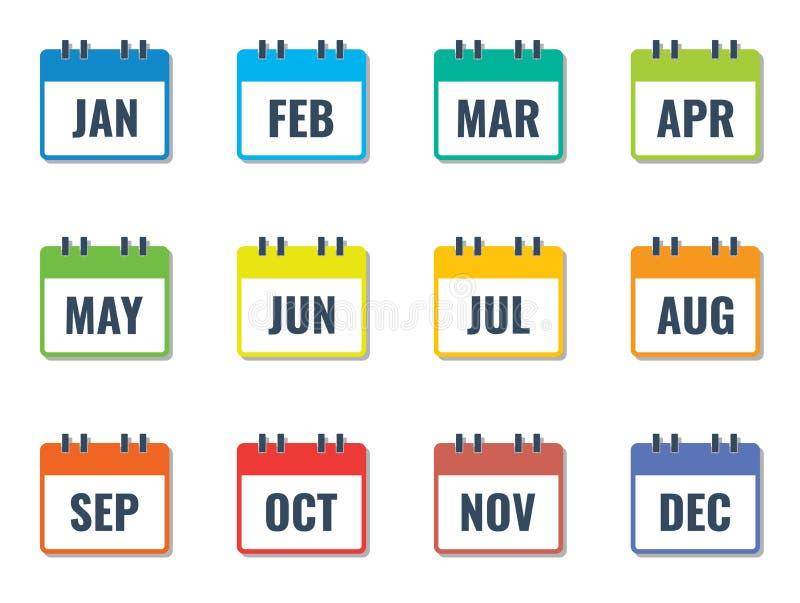 Όνομα μήνα στο ημερολόγιο, ζωηρόχρωμο επίπεδο διάνυσμα ύφους απεικόνιση αποθεμάτων