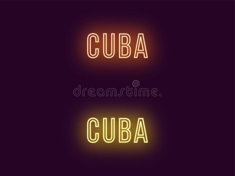 Όνομα νέου της Δημοκρατίας της Κούβας Διανυσματικό κείμενο της Κούβας απεικόνιση αποθεμάτων