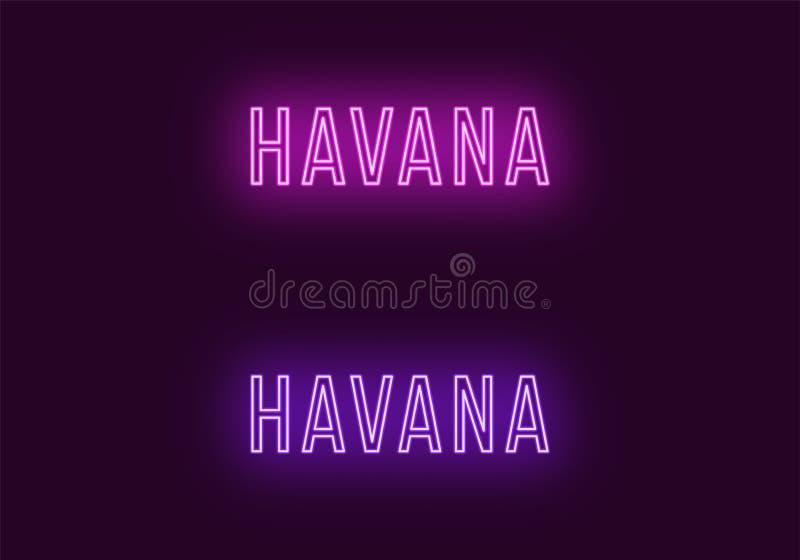 Όνομα νέου της πόλης της Αβάνας στην Κούβα Διανυσματικό κείμενο απεικόνιση αποθεμάτων