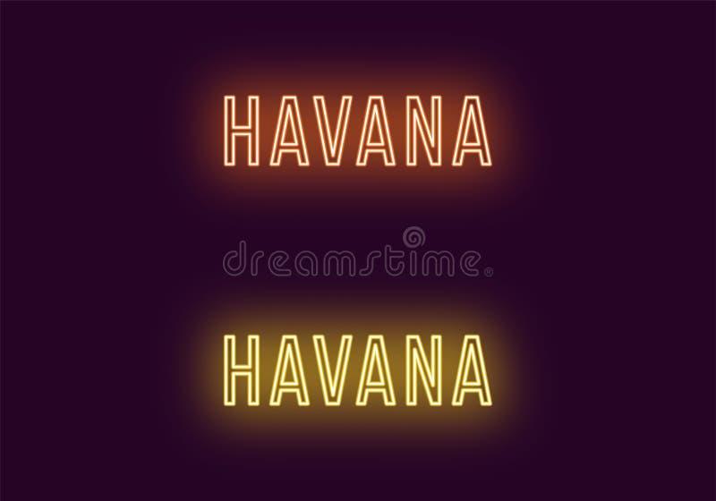 Όνομα νέου της πόλης της Αβάνας στην Κούβα Διανυσματικό κείμενο διανυσματική απεικόνιση