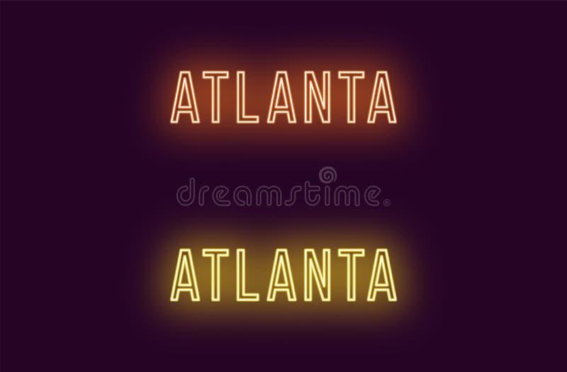 Όνομα νέου της πόλης της Ατλάντας στις ΗΠΑ Διανυσματικό κείμενο ελεύθερη απεικόνιση δικαιώματος