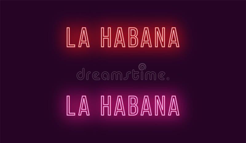 Όνομα νέου της πόλης Λα Habana στην Κούβα Διανυσματικό κείμενο απεικόνιση αποθεμάτων
