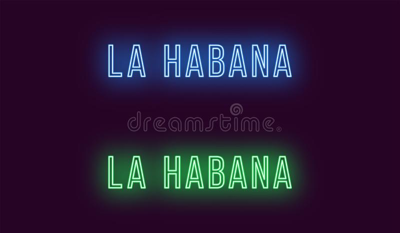 Όνομα νέου της πόλης Λα Habana στην Κούβα Διανυσματικό κείμενο ελεύθερη απεικόνιση δικαιώματος