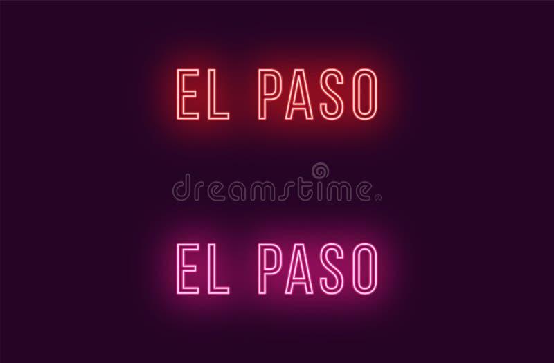 Όνομα νέου της πόλης του Ελ Πάσο στις ΗΠΑ Διανυσματικό κείμενο απεικόνιση αποθεμάτων