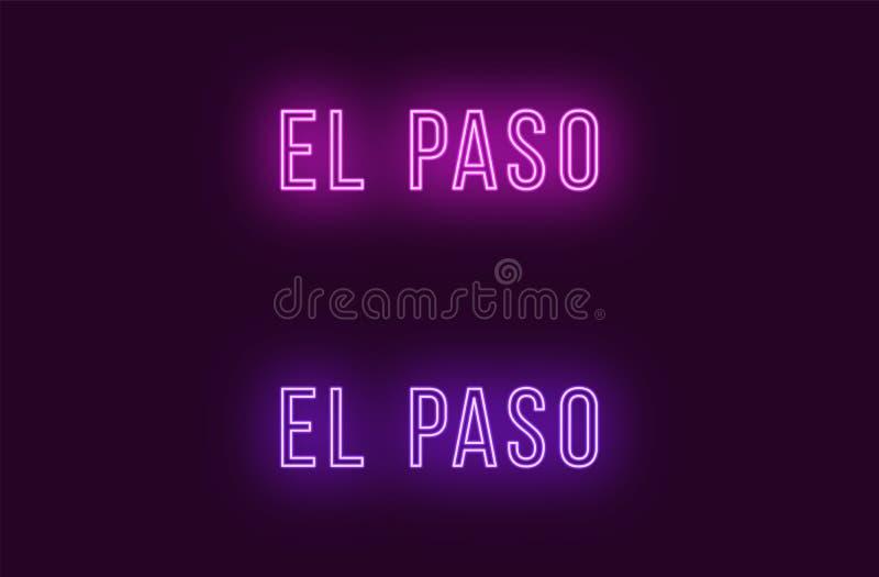 Όνομα νέου της πόλης του Ελ Πάσο στις ΗΠΑ Διανυσματικό κείμενο ελεύθερη απεικόνιση δικαιώματος
