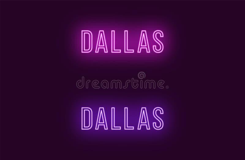Όνομα νέου της πόλης του Ντάλλας στις ΗΠΑ Διανυσματικό κείμενο διανυσματική απεικόνιση