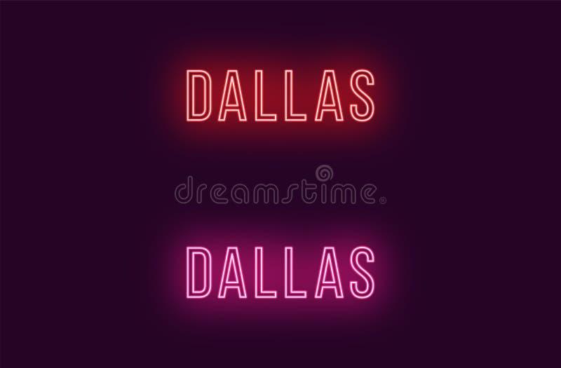 Όνομα νέου της πόλης του Ντάλλας στις ΗΠΑ Διανυσματικό κείμενο ελεύθερη απεικόνιση δικαιώματος