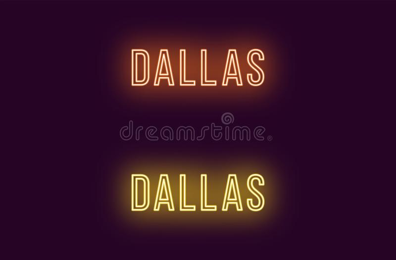 Όνομα νέου της πόλης του Ντάλλας στις ΗΠΑ Διανυσματικό κείμενο απεικόνιση αποθεμάτων
