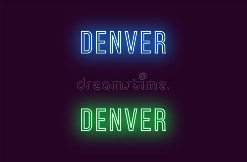 Όνομα νέου της πόλης του Ντένβερ στις ΗΠΑ Διανυσματικό κείμενο απεικόνιση αποθεμάτων