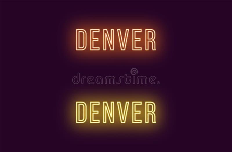 Όνομα νέου της πόλης του Ντένβερ στις ΗΠΑ Διανυσματικό κείμενο διανυσματική απεικόνιση