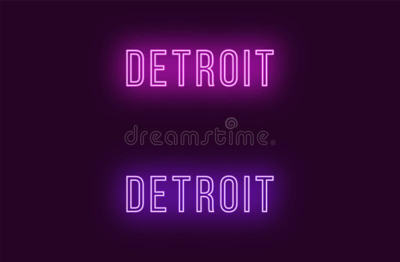 Όνομα νέου της πόλης του Ντιτρόιτ στις ΗΠΑ Διανυσματικό κείμενο ελεύθερη απεικόνιση δικαιώματος