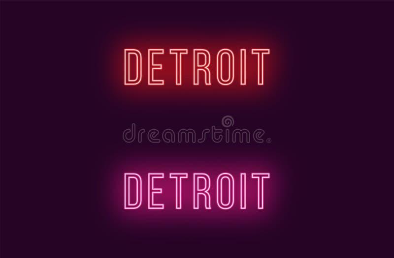 Όνομα νέου της πόλης του Ντιτρόιτ στις ΗΠΑ Διανυσματικό κείμενο απεικόνιση αποθεμάτων
