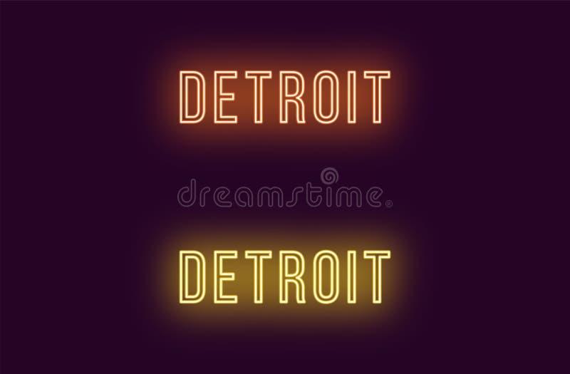 Όνομα νέου της πόλης του Ντιτρόιτ στις ΗΠΑ Διανυσματικό κείμενο διανυσματική απεικόνιση
