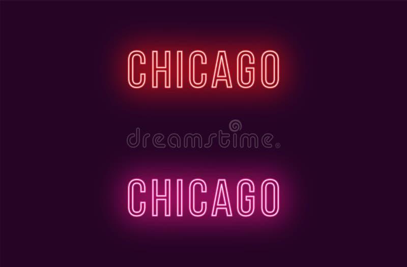 Όνομα νέου της πόλης του Σικάγου στις ΗΠΑ Διανυσματικό κείμενο απεικόνιση αποθεμάτων