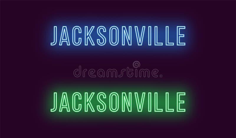 Όνομα νέου της πόλης του Τζάκσονβιλ στις ΗΠΑ Διανυσματικό κείμενο διανυσματική απεικόνιση