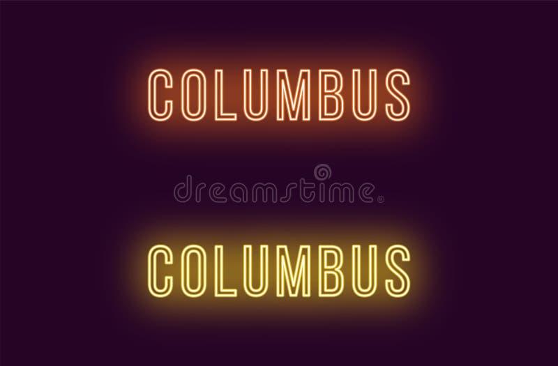 Όνομα νέου της πόλης του Columbus στις ΗΠΑ Διανυσματικό κείμενο απεικόνιση αποθεμάτων