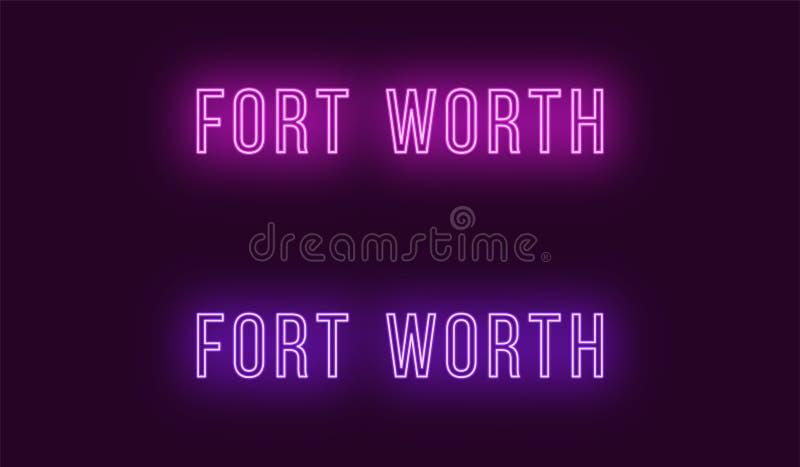 Όνομα νέου της πόλης του Fort Worth στις ΗΠΑ Διανυσματικό κείμενο ελεύθερη απεικόνιση δικαιώματος