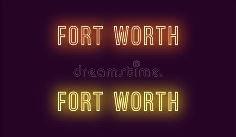 Όνομα νέου της πόλης του Fort Worth στις ΗΠΑ Διανυσματικό κείμενο διανυσματική απεικόνιση