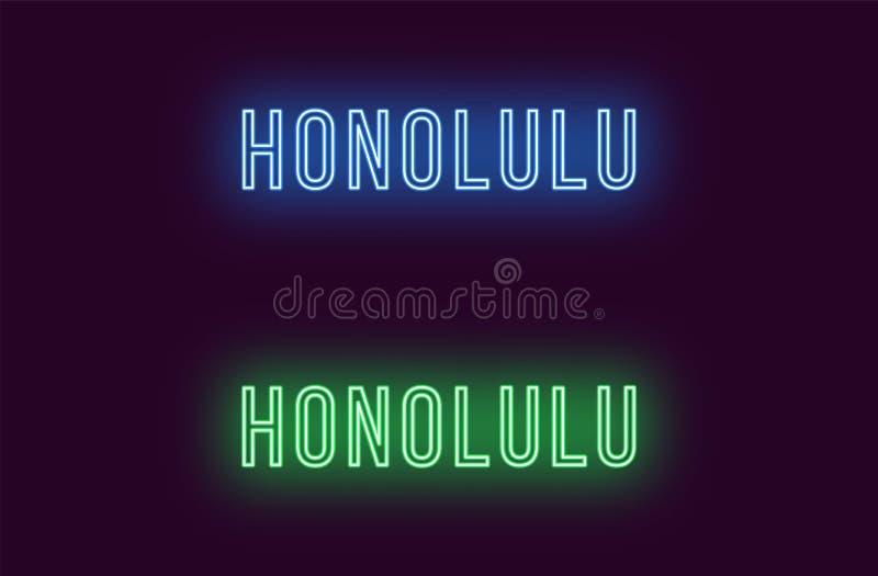 Όνομα νέου της πόλης της Χονολουλού στη Χαβάη Διανυσματικό κείμενο διανυσματική απεικόνιση