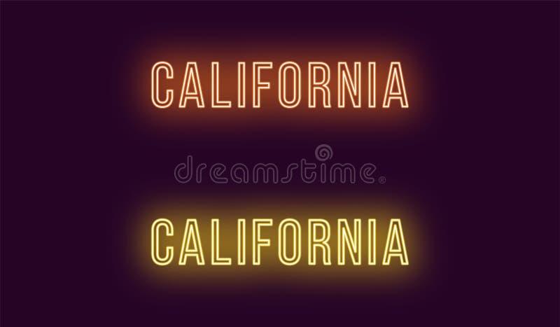 Όνομα νέου του κράτους Καλιφόρνιας στις ΗΠΑ Διανυσματικό κείμενο απεικόνιση αποθεμάτων