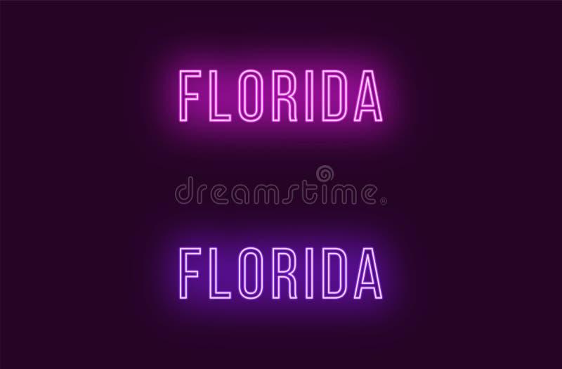 Όνομα νέου του κράτους της Φλώριδας στις ΗΠΑ Διανυσματικό κείμενο διανυσματική απεικόνιση